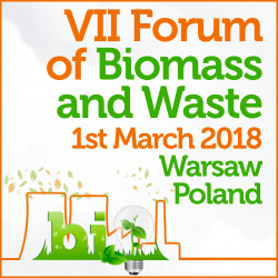The 7th Forum of Biomass and Waste will be held on March 1st, 2018 in Warsaw